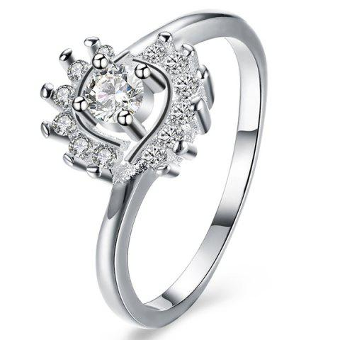 Shops Rhinestoned Flower Ring - 8 SILVER Mobile
