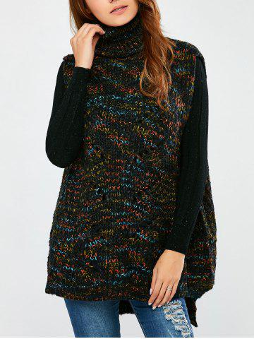 Fashion Turtle Neck  Space Dyed Chunky Sweater Vest