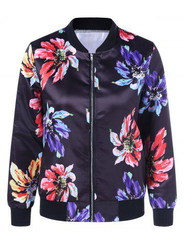 Outfit Floral Print Satin Bomber Jacket