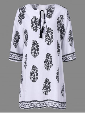 Best Casual Print Peasant Shift Dress WHITE XL