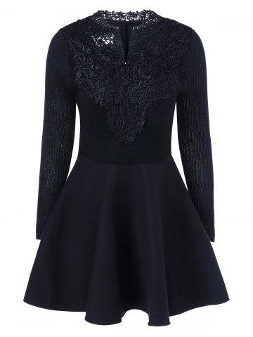 Online Lace Insert Knit Fit And Flare Dress BLACK 2XL