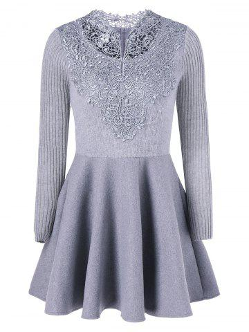 Lace Insert Knit Fit And Flare Dress - Gray - S