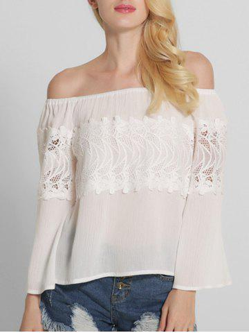 Hot Lace Spliced Openwork Off The Shoulder Blouse WHITE 2XL