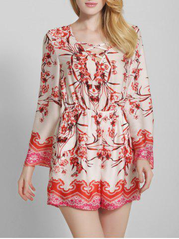 Best Bohemian Printed Criss Cross Long Sleeve Romper
