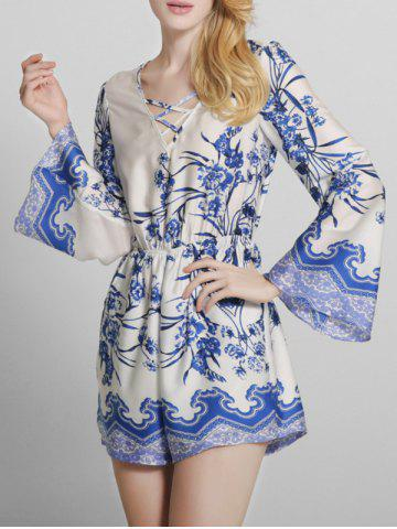 87390e5d10a Bohemian Printed Criss Cross Long Sleeve Romper