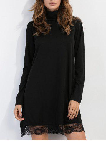 Sale High Neck Mesh Trim Long Sleeve Dress BLACK XL
