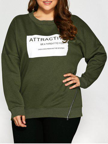 New Plus Size Letter Graphic Zipper Fleece Sweatshirt