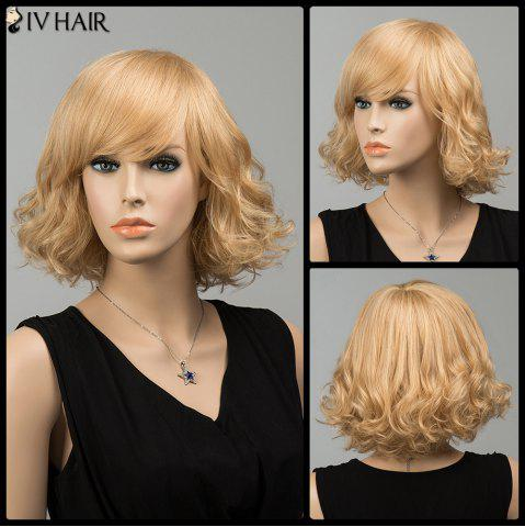 Gorgeous Short Shaggy Side Bang Curly Siv Human Hair Wig - BLONDE