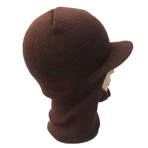 Best Elastic Knit Face Mask Neck with Brim Warmer Ski Cap - COFFEE  Mobile