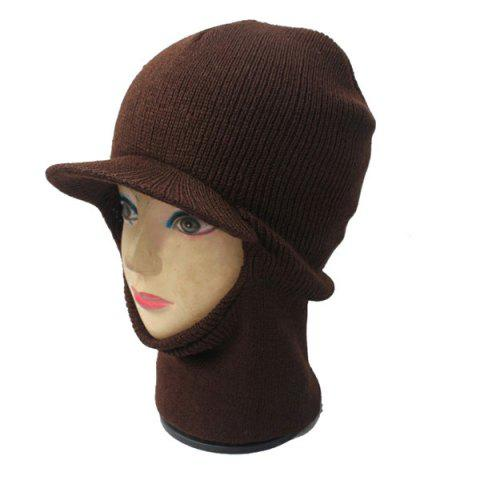 Hot Elastic Knit Face Mask Neck with Brim Warmer Ski Cap - COFFEE  Mobile