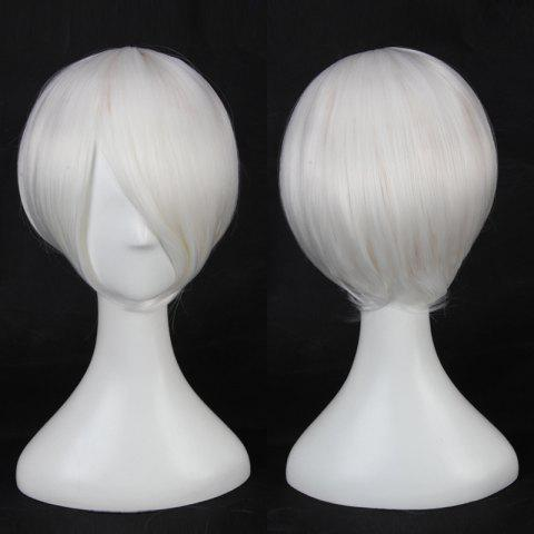 Best Multicolor Short Side Bang Straight Cosplay Synthetic Wig WHITE