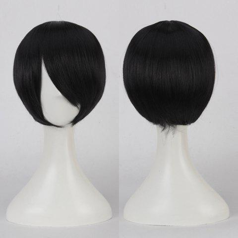 Online Short Side Bang Straight Cosplay Synthetic Wig - BLACK  Mobile