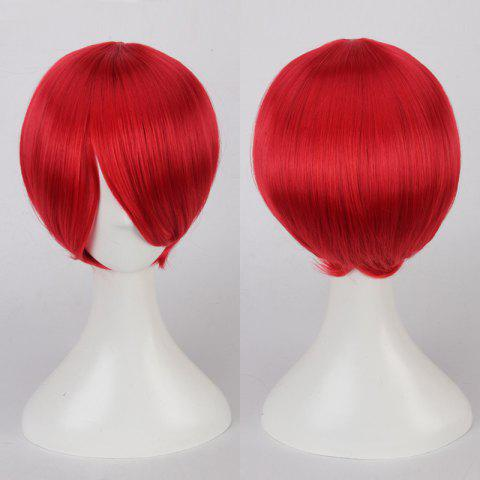 Unique Short Side Bang Straight Cosplay Synthetic Wig RED