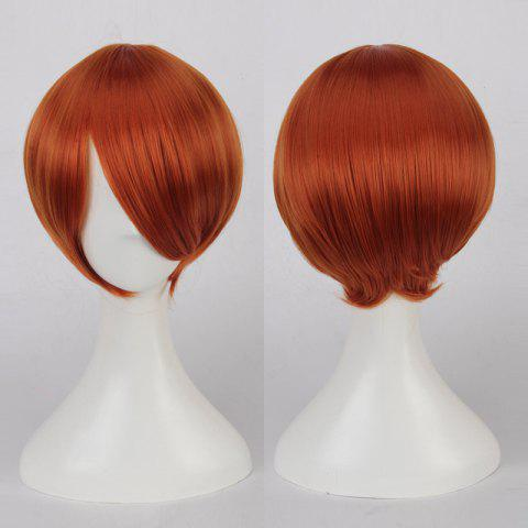 Sale Short Side Bang Straight Cosplay Synthetic Wig ORANGE