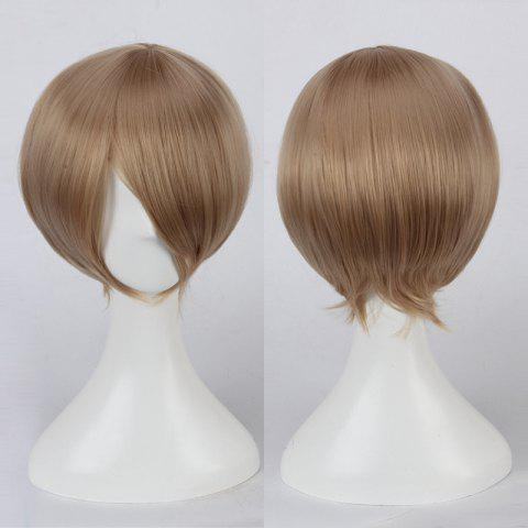 Short Side Bang Straight Cosplay Synthetic Wig - Shallow Flaxen
