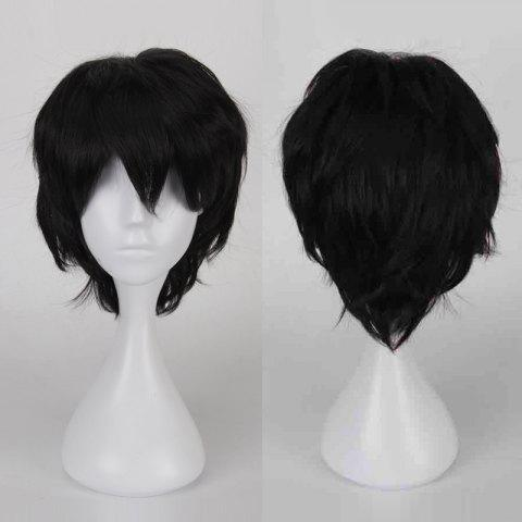 Affordable Multicolor Short Side Bang Fluffy Straight Cosplay Synthetic Wig - BLACK  Mobile