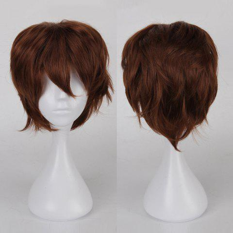 Multicolor Short Side Bang Fluffy Straight Cosplay Synthetic Wig - Light Brown