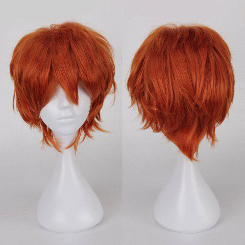 Multicolor Short Side Bang Fluffy Straight Cosplay Synthetic Wig - Orange Red