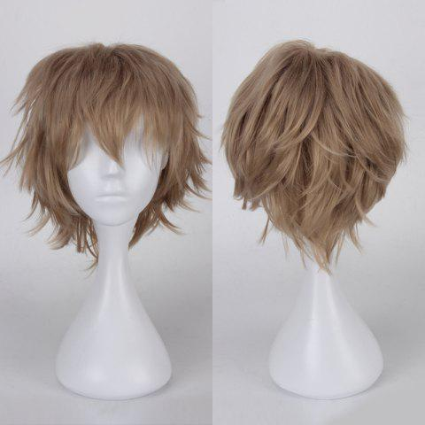 Affordable Multicolor Short Side Bang Fluffy Straight Cosplay Synthetic Wig FLAX