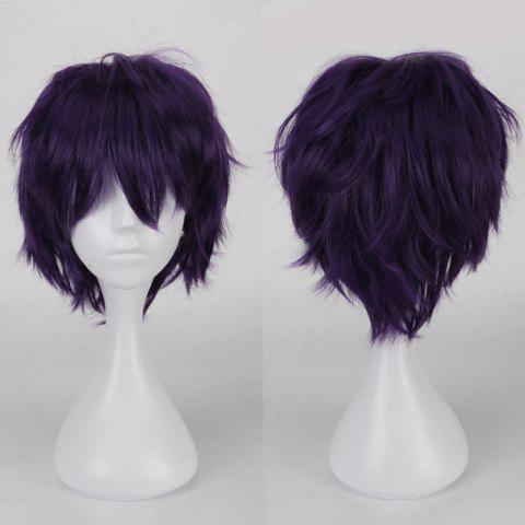 Online Multicolor Short Side Bang Fluffy Straight Cosplay Synthetic Wig - BLACK PURPLE  Mobile