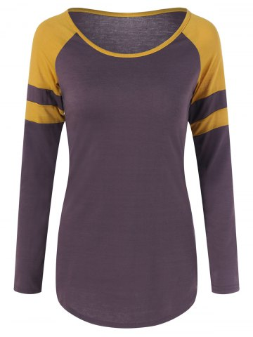Fashion Two Tone Raglan Sleeve Slim Tee
