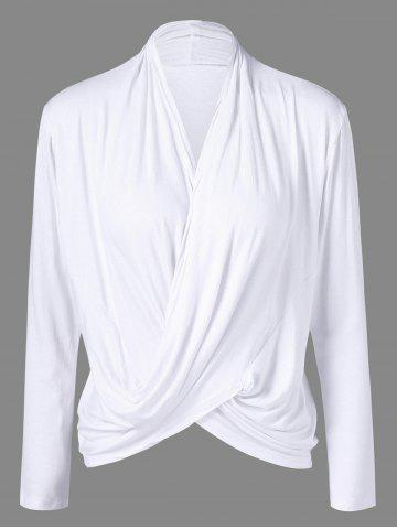 Chic Wrap V Neck Tee WHITE XL