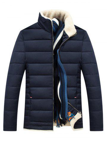 Slim Fit Wool Stand Collar Quilted Jacket - Cadetblue - L