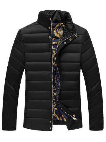 Affordable Stand Collar Zipper Button Quilted Jacket