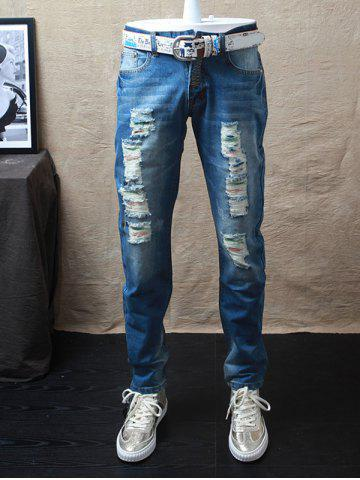 Straight Leg Dyed Distressed Jeans