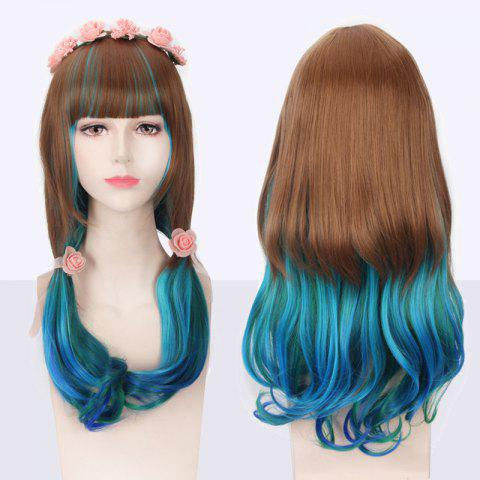 Fashion Multi Color Long Full Bang Slightly Curled Cosplay Synthetic Wig