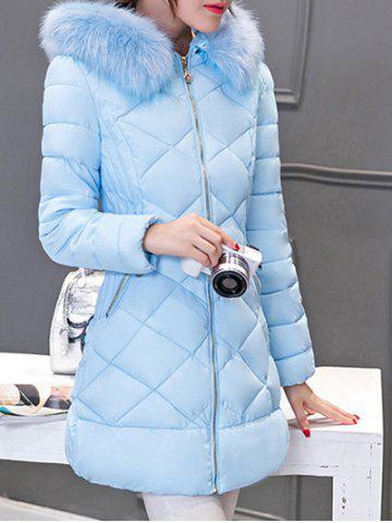 Fashion Long Hooded Puffer Coat With Fur Trim