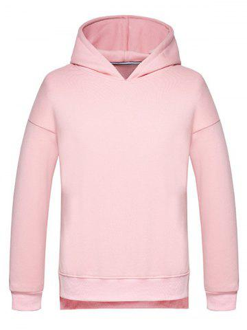 Discount High Low Side Split Pullover Hoodie PINK 2XL