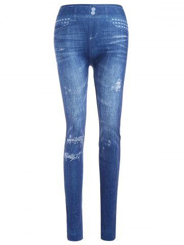 Latest Slim Ripped Imitation Jean Leggings BLUE ONE SIZE
