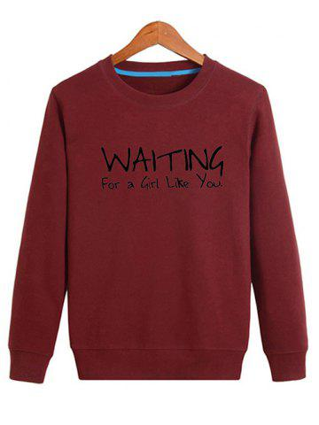Latest Letter Printed Crew Neck Sweatshirt - 4XL DEEP RED Mobile