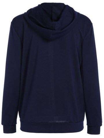Online Active Drawstring Zipper Up Hoodie - L PURPLISH BLUE Mobile