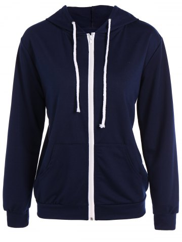 Hot Active Drawstring Zipper Up Hoodie - L PURPLISH BLUE Mobile