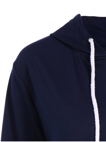 Outfits Active Drawstring Zipper Up Hoodie - M PURPLISH BLUE Mobile