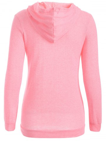 Chic Half Button Hoodie With Pocket - XL PINK Mobile