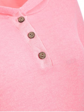 New Half Button Hoodie With Pocket - L PINK Mobile