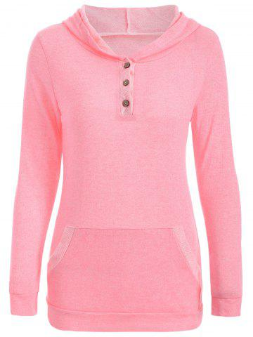 Chic Half Button Hoodie With Pocket - L PINK Mobile