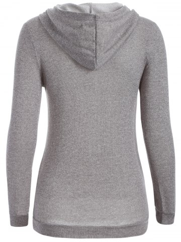 Affordable Half Button Hoodie With Pocket - L GRAY Mobile