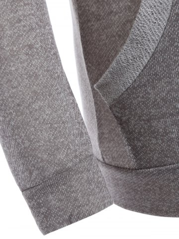 Cheap Half Button Hoodie With Pocket - L GRAY Mobile