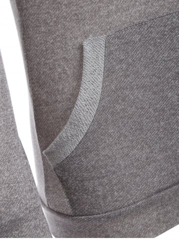 Outfit Half Button Hoodie With Pocket - L GRAY Mobile