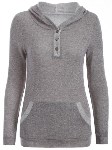 Discount Half Button Hoodie With Pocket - L GRAY Mobile