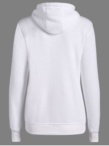 Outfit Letters Pattern Sporty Drawstring Hoodie - XL WHITE Mobile