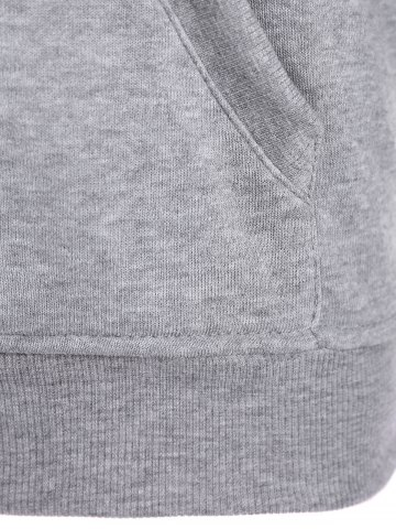 Sale Letters Pattern Sporty Drawstring Hoodie - L GRAY Mobile