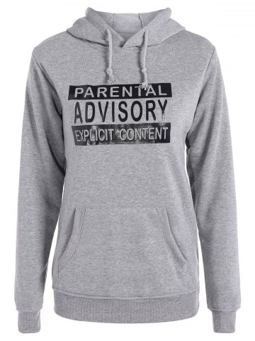 Buy Letters Pattern Sporty Drawstring Hoodie - L GRAY Mobile