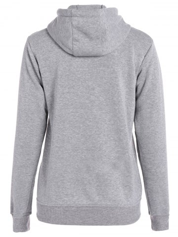 Unique Letters Pattern Sporty Drawstring Hoodie - L GRAY Mobile