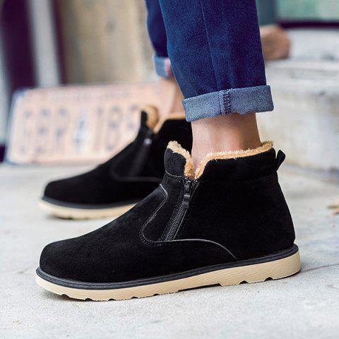 New Suede Double Zips Ankle Boots - 42 BLACK Mobile