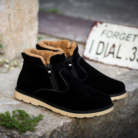 Buy Suede Double Zips Ankle Boots - 42 BLACK Mobile